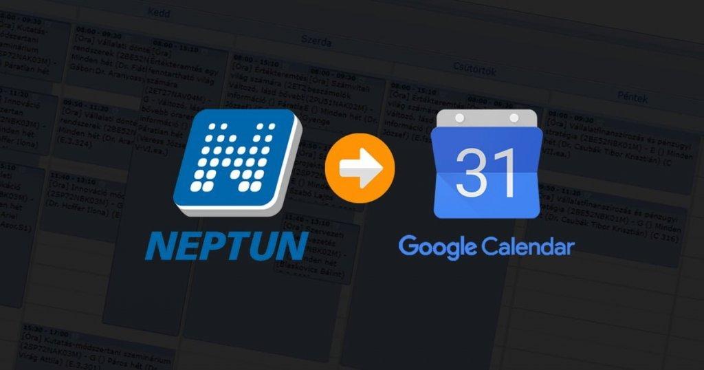 Neptun órarend Google Naptár importálás cover